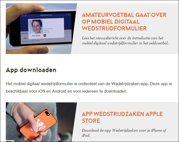 Mobiele wedstrijd app. KNVB
